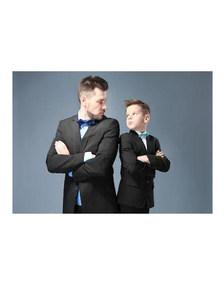 Black Single Breasted Father ~ Dad And Son Matching Suits