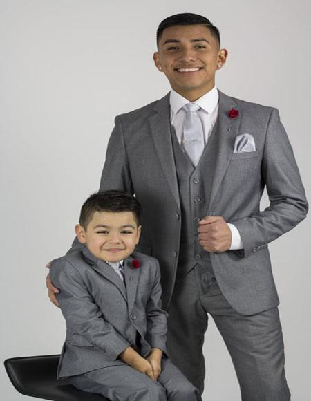 Father ~ Dad And Son Matching Suits Gray
