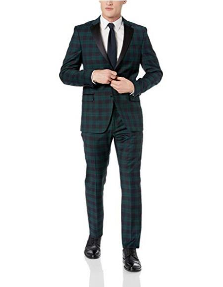 Mens Green Tartan Two Button Closure Window Pane Suit