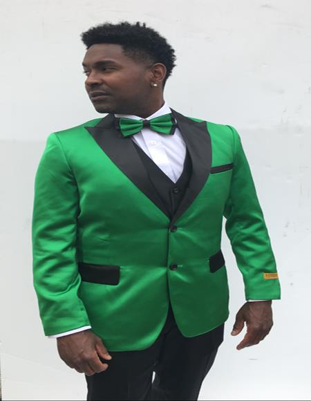 Mens Single Breasted Peak Label Green and Black Suit