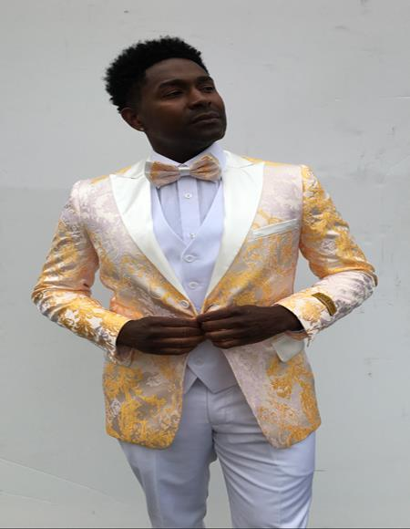 Mens Single Breasted Peak Label Yellow and White Suit