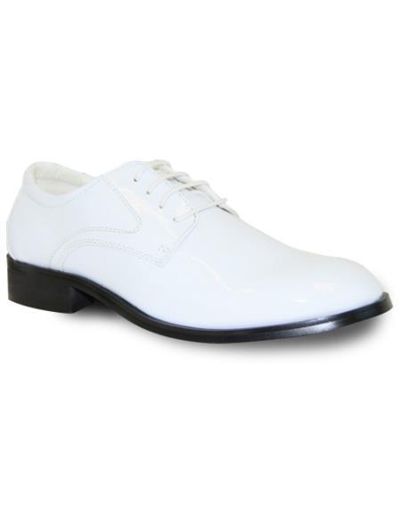 Men Premium Cushion Insole Dress Shoe White Patent