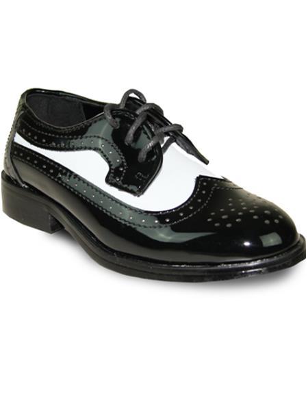 Men Dress Shoe Formal Tuxedo for Prom & Wedding Black/White Patent Two Tone