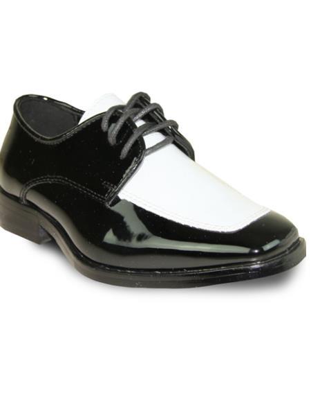 Men Formal Tuxedo for Prom & Wedding Black/White Patent Two Tone Dress Shoe