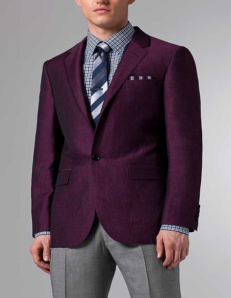 Mens Purple Front Two Flap Pockets Linen Suit