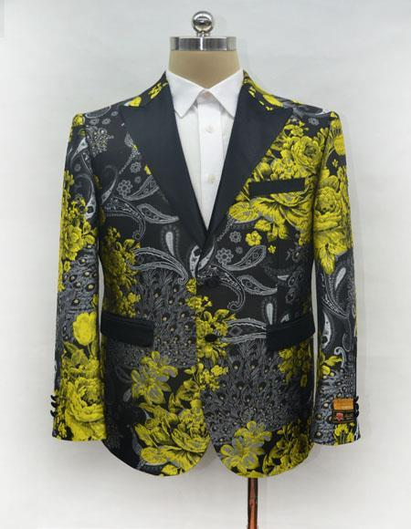 Mens Single Breasted Gold Blazer