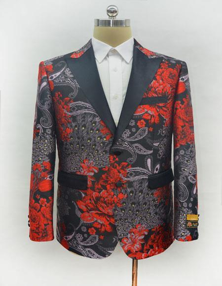 Mens Single Breasted Red Blazer