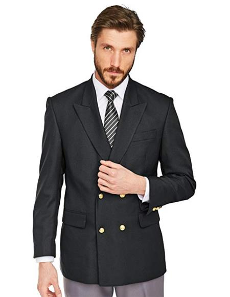 Mens Double Breasted Blazer ~ Suit Jacket with Gold Buttons 100% Wool