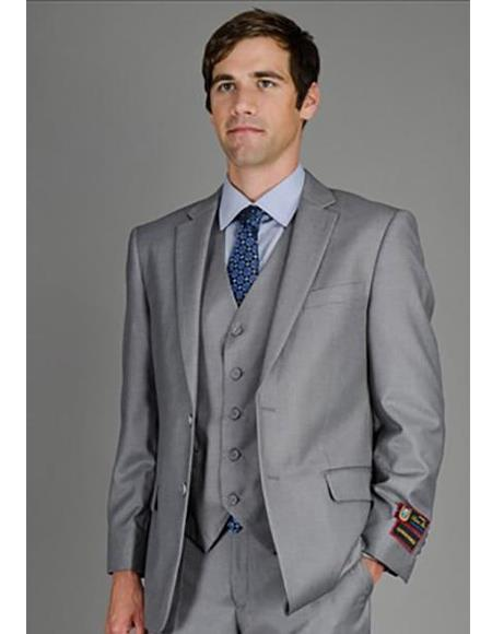 Mens Single Breasted Notch Lapel Solid Grey Suit