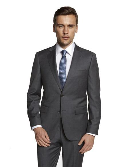 Mens Single Breasted Notch Lapel Solid Medium Grey Suit