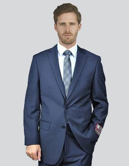 Mens Single Breasted Two Buttons Notch Lapel Solid Navy Suit