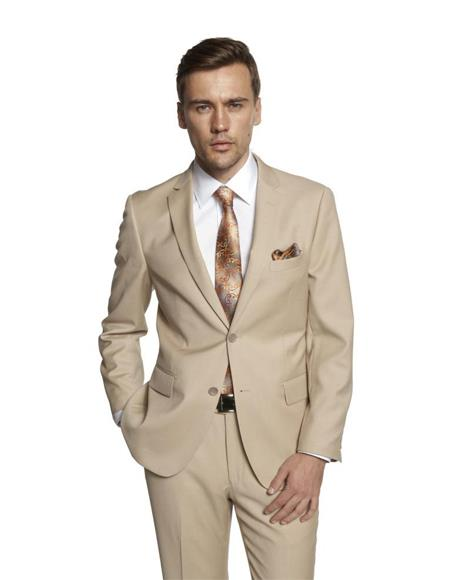 Mens Single Breasted Notch Lapel Solid Beige Suit