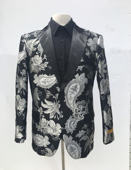 Mens Single Breasted Black ~ White Blazer