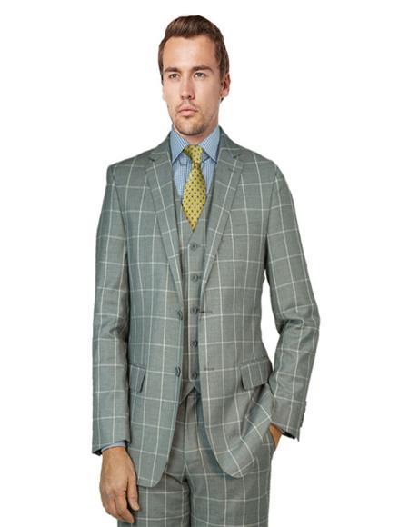 Bertolini Suit Gray Windowpane