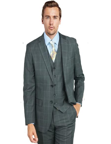 Charcoal Navy Windowpane