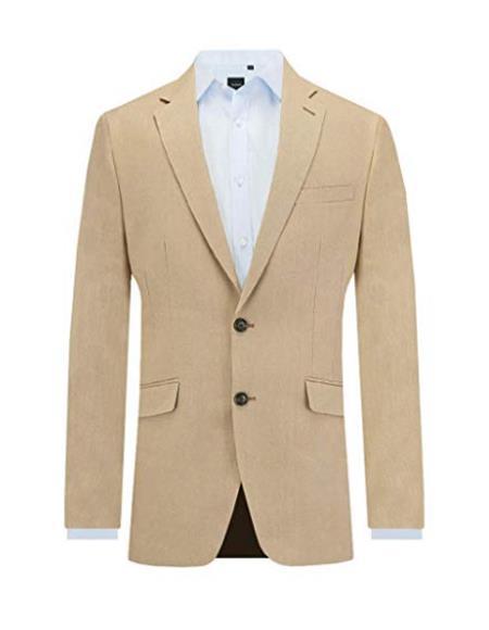 Mens Sand Men's 2 Piece Linen Causal Outfits 2 Piece Suit Slim Fit Notch Lapel / Beach Wedding Attire For Groom