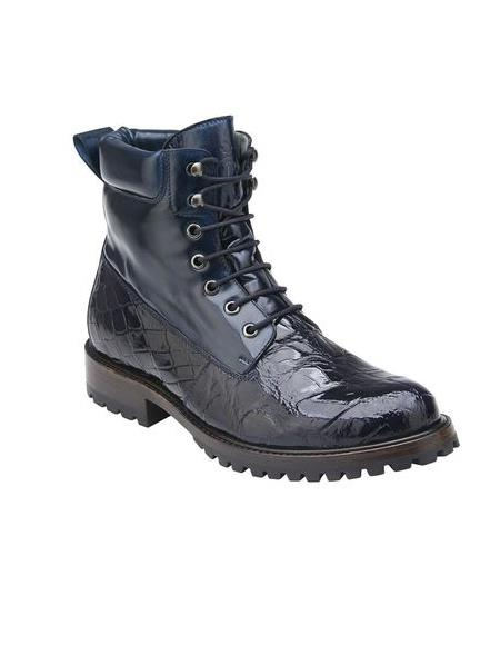 Belvedere Navy Blue Alligator Work Boot Logan