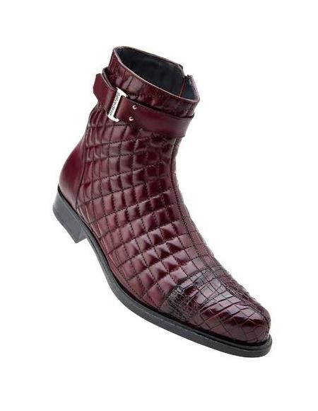 Mens Wine Alligator Trim