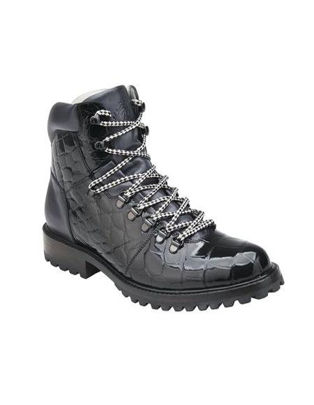 Black Alligator Hiking Boot