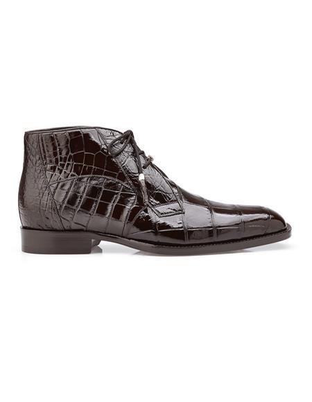 Belvedere Mens Brown Alligator Dress Boots Stefano