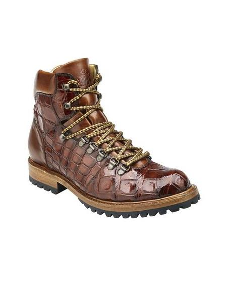 Tan Alligator Hiking Boot