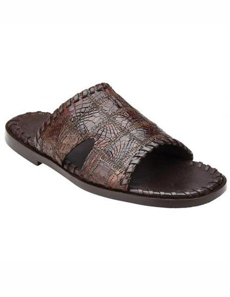Brown Genuine Patchwork Crocodile