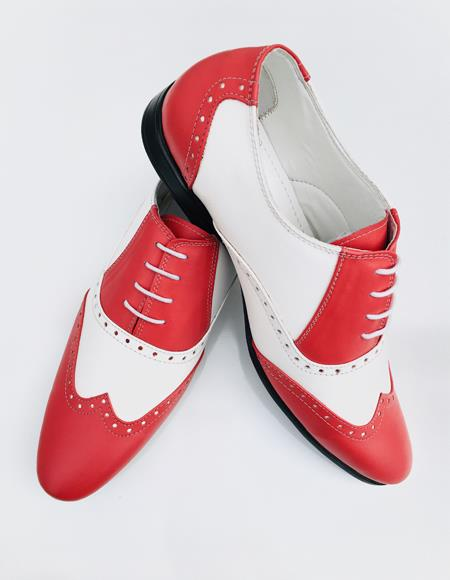 Mens Red Leather Upper Two Toned Dress Shoe
