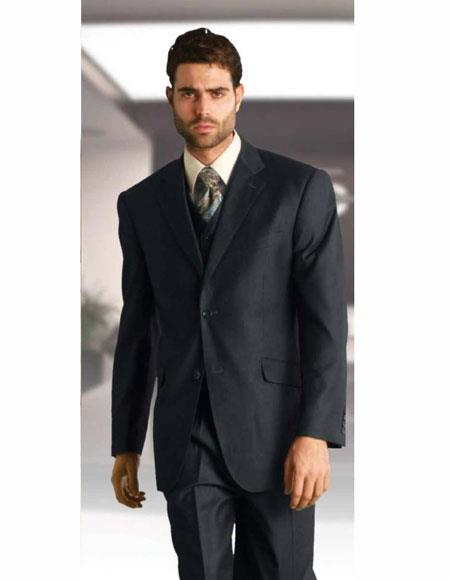 Athletic Cut Classic Charcoal Suits Relax Fit Pleated Pants 19 Inch Bottom