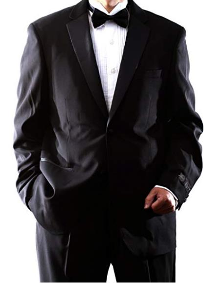 Caravelli Mens Single Breasted 2 Button Black Tuxedo
