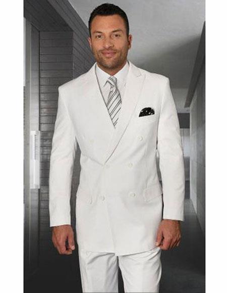Breasted White Suit Peak