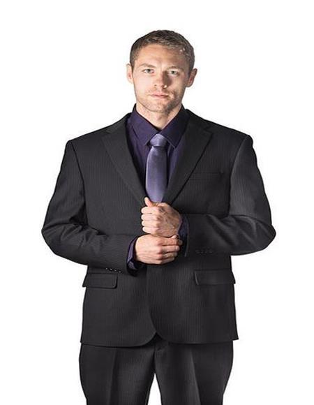Caravelli Black Pinstripe Suit