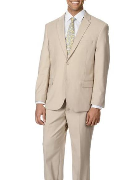 Beige Vested Slim Suit