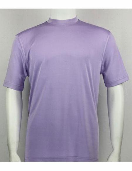 Mock Neck Shirts Lilac For Men
