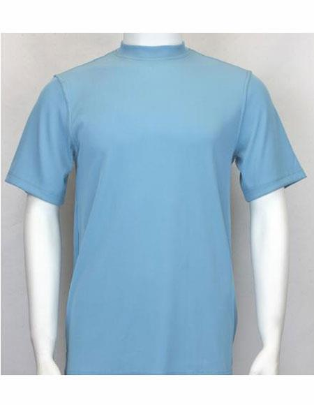 Mock Neck Shirts Turquoise For Men