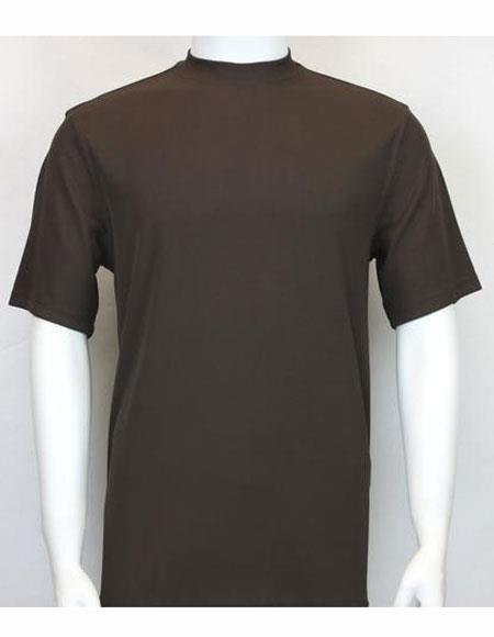 Brown Mock Neck Shirts For Men