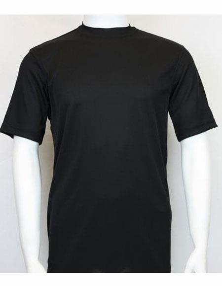Mens Mock Neck Shirts Black