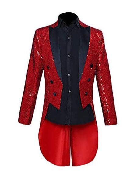 Mens Tailcoat Mens Single Breasted Blazer Red Peak Lapel Long Tail tuxedo - Long tailCoat