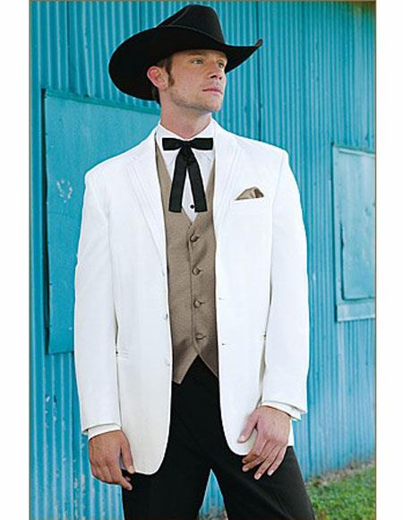 Mens Wedding Cowboy Suit Jacket perfect for wedding White
