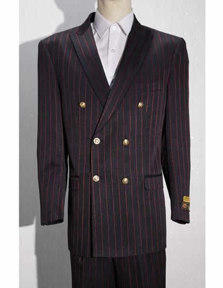 Bold Gangster 1920's Clothing 20s 40s Fashion  Striped ~ Pinstripe Double Breasted Suits Black ~ Red By Alberto Nardoni Brand