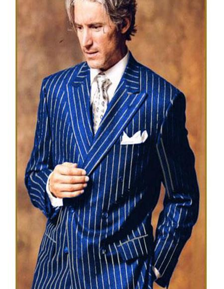 Product#Bold40 Mens Double Breasted Chalk Pinstripe Striped Gangster Suit Royal Blue and White Stripe