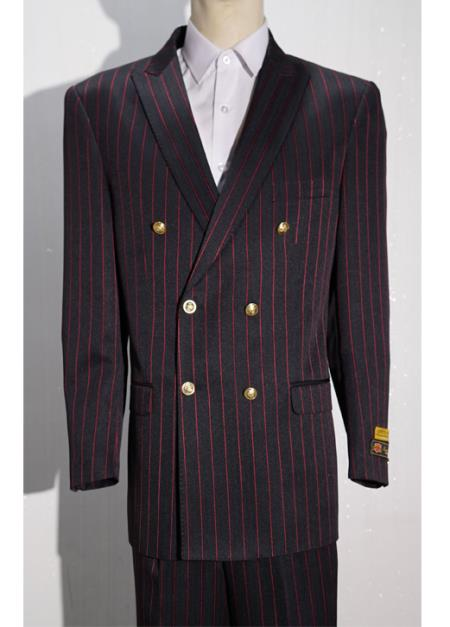 Red Mens Pinstripe Double