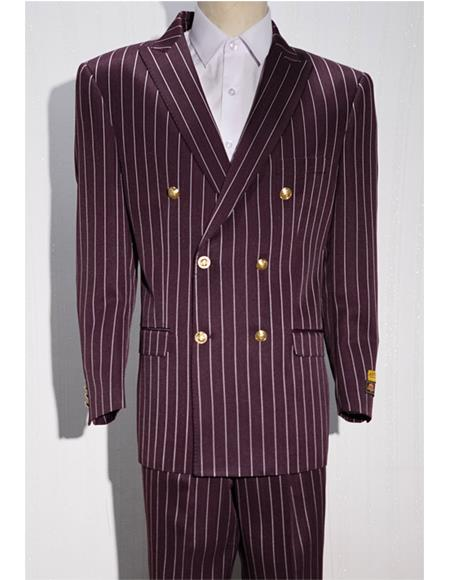 White Mens Pinstripe Double