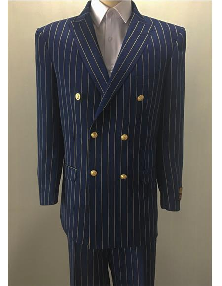 Navy ~ Gold Mens Pinstripe Double Breasted Blazer