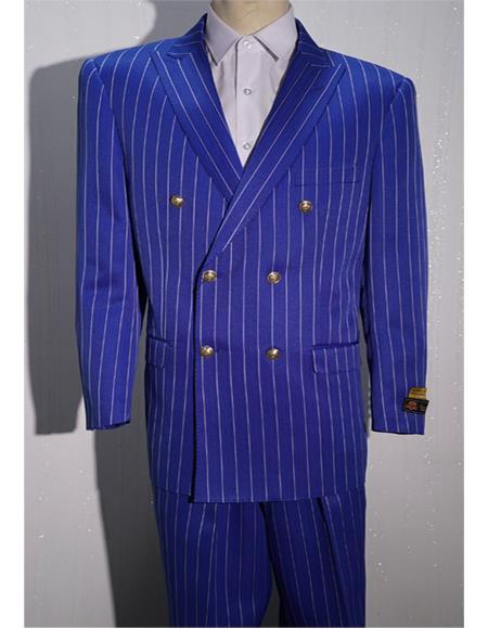 Royal ~ White Mens Pinstripe Double Breasted Blazer