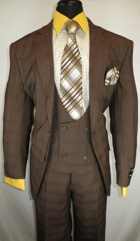Mens Suit Single Breasted Notch Lapel Brown ~ Plaid Design Suit Jacket - 3 Piece Suit For Men - Three piece suit