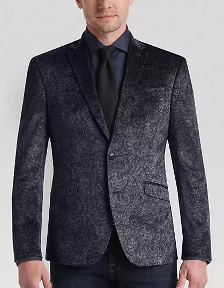 Paisley Black Velvet Fabric Patterned Texture Dinner Jacket Blazer Sport Coat