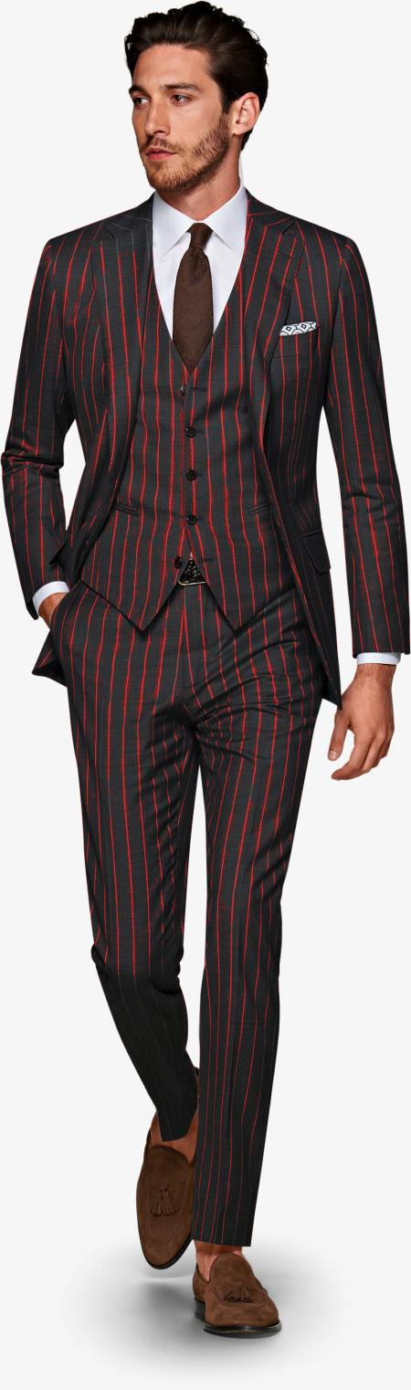 Product#ALPHA 1920s 1940s Mens Gatsby Vintage Suit For Sale Black and Red Pinstripe - 3 Piece Suit For Men - Three piece suit