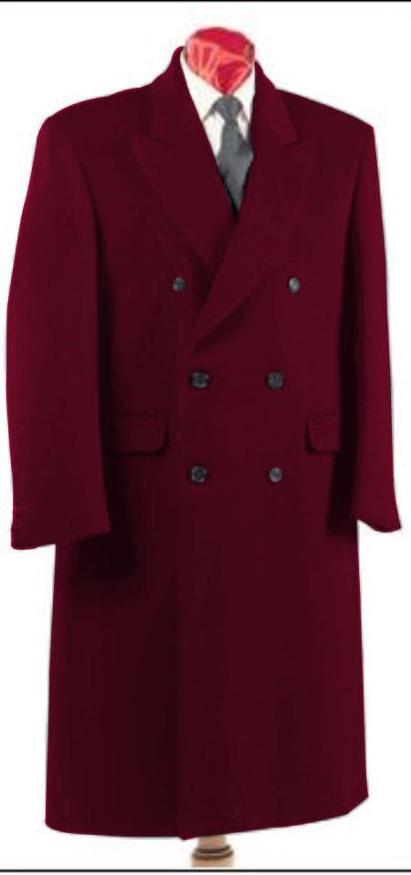 Mens Dark Burgundy Double Breasted Six Button Fully Lined Long Coat