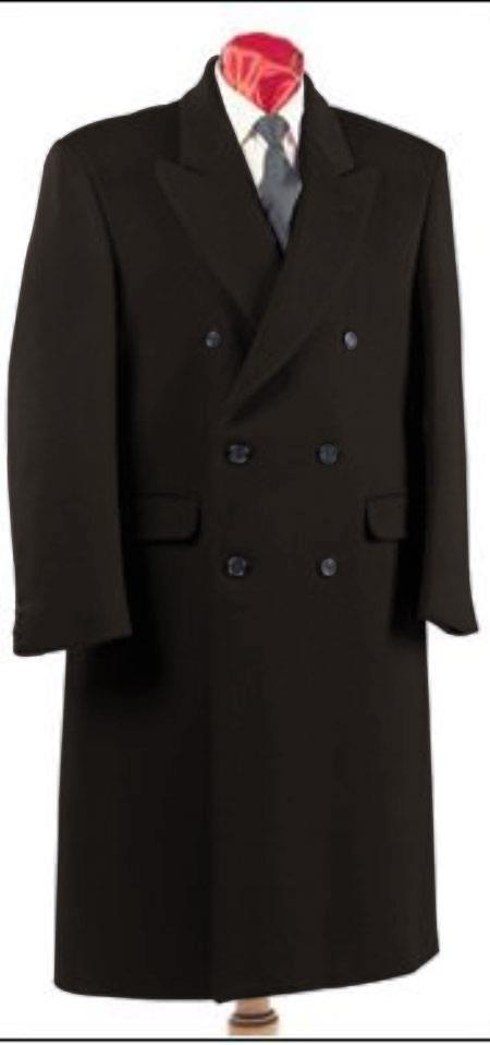 Mens Alberto Nardoni Authentic Fully Lined Double Breasted Dress Coat Wool Blend Long Overcoat