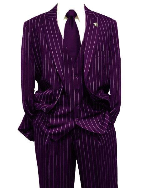 Mens Dark Purple Gangster Bold PinStripe Mars Vested 3 Piece Fashion Suit Pleated Pant